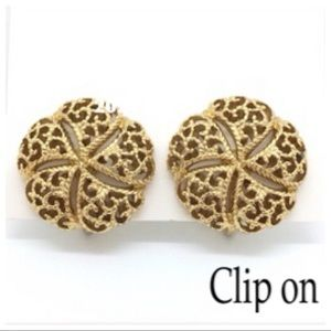 MONET Gold Vintage Clip On Earrings